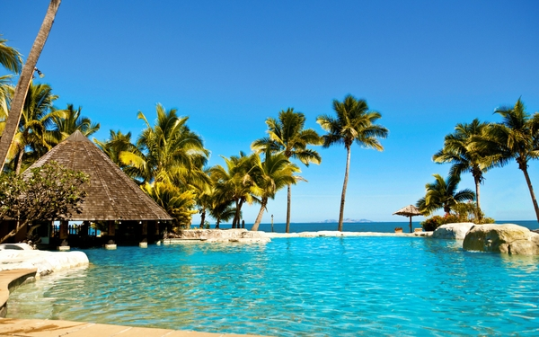 water ocean sun summer tropical fiji palm trees huts swimming pools hotels fiji islands resort relaxation sea beaches_www.wall321.com_98